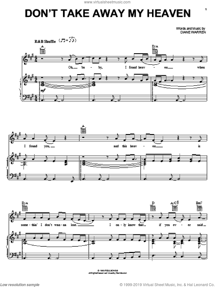 Don't Take Away My Heaven sheet music for voice, piano or guitar by Aaron Neville and Diane Warren, intermediate skill level