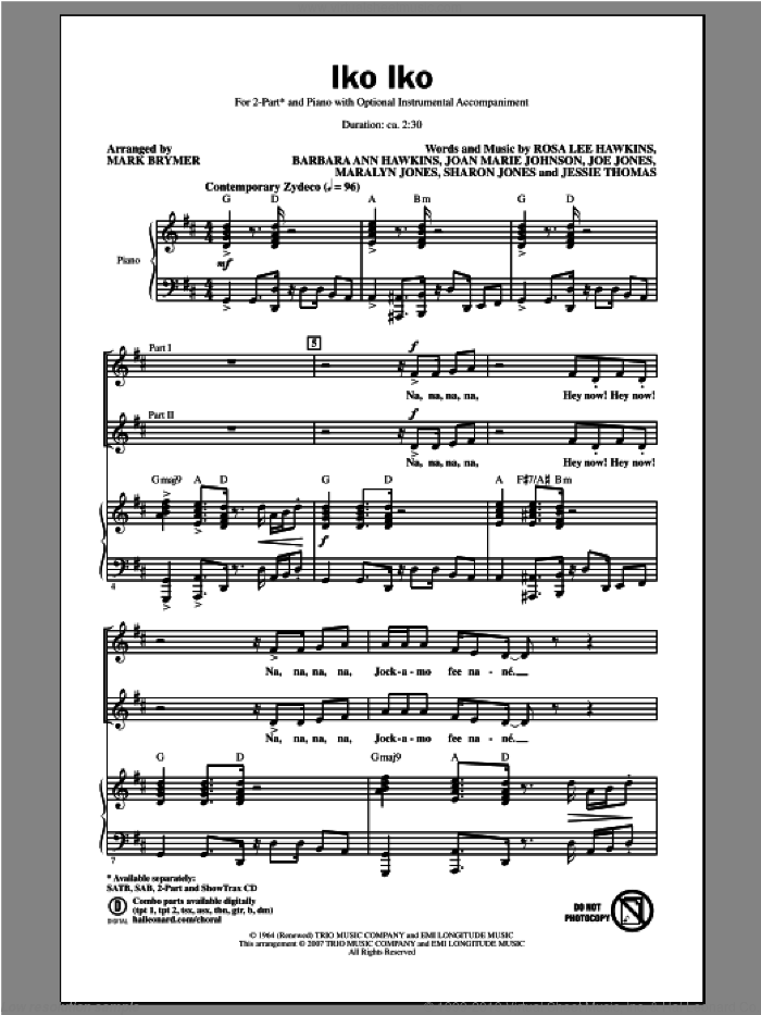 Iko Iko sheet music for choir (duets) by Mark Brymer and Dr. John. Score Image Preview.