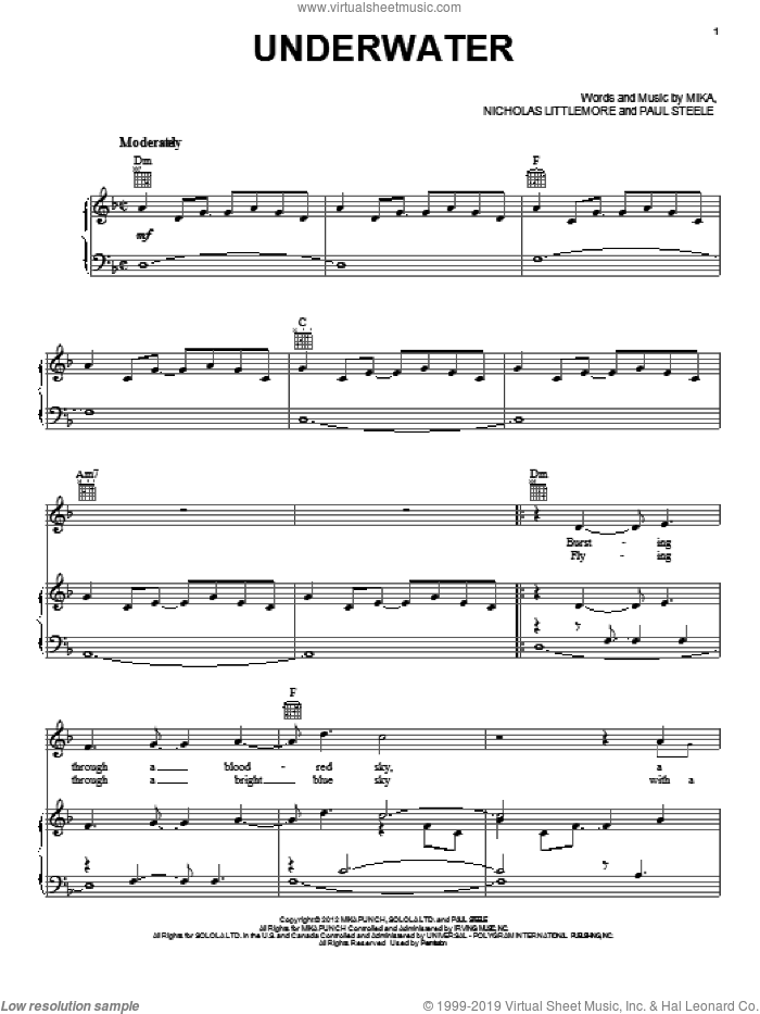 Underwater sheet music for voice, piano or guitar by Mika, intermediate skill level