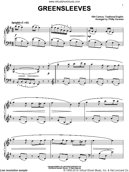 Greensleeves, (intermediate) sheet music for piano solo by Traditional English Folksong, intermediate skill level