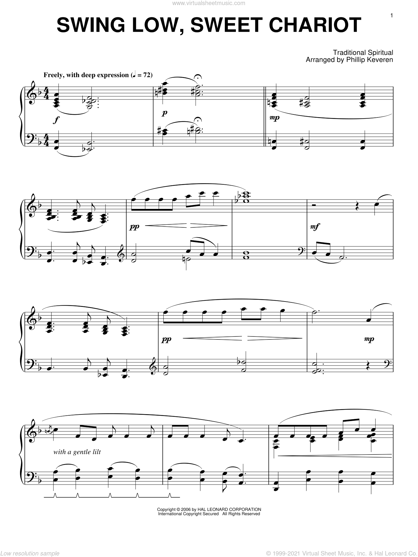 Swing Low, Sweet Chariot sheet music for piano solo