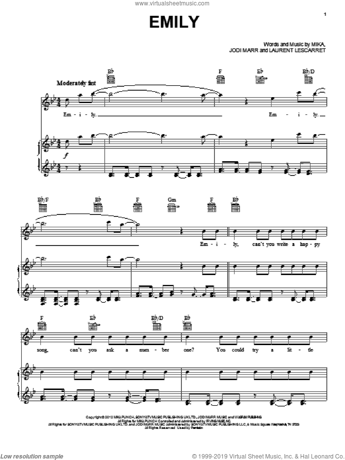 Emily sheet music for voice, piano or guitar by Mika, intermediate. Score Image Preview.