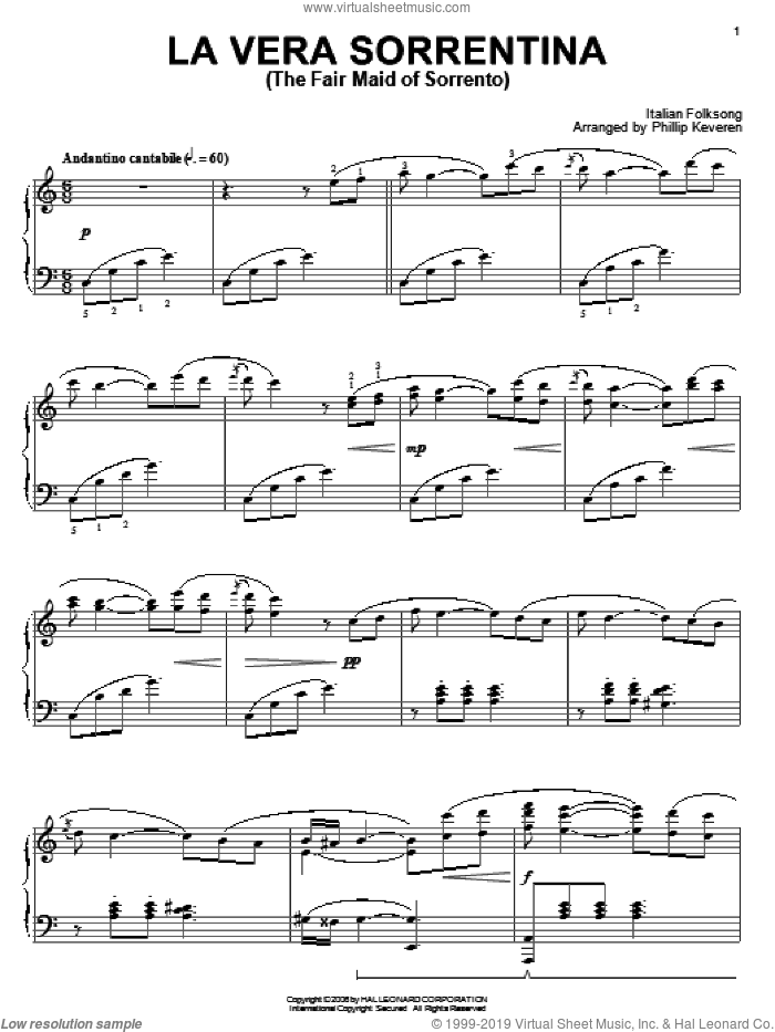 La Vera Sorrentina (The Fair Maid Of Sorrento) sheet music for piano solo. Score Image Preview.