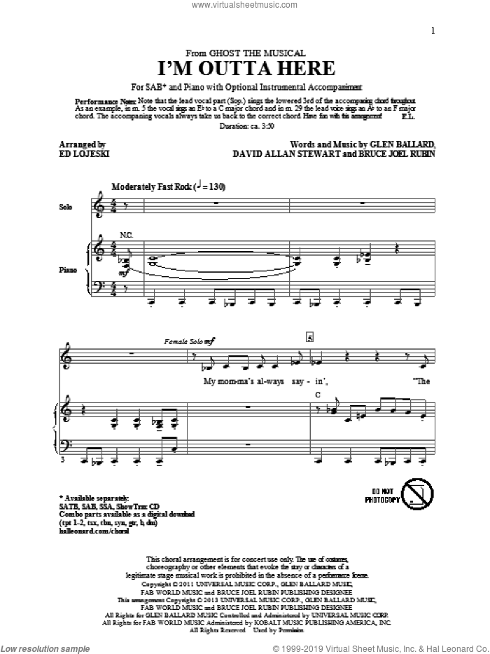 I'm Outta Here sheet music for choir and piano (SAB) by Ed Lojeski. Score Image Preview.