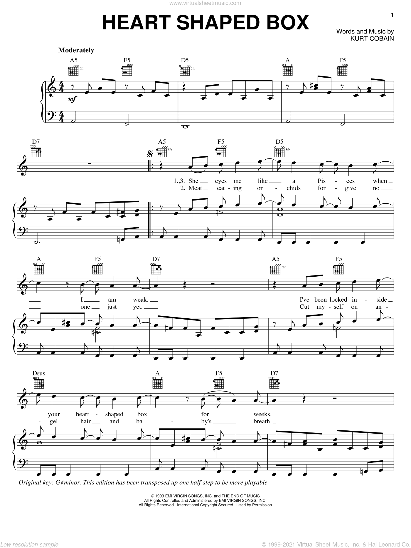 Heart Shaped Box sheet music for voice, piano or guitar by Nirvana. Score Image Preview.