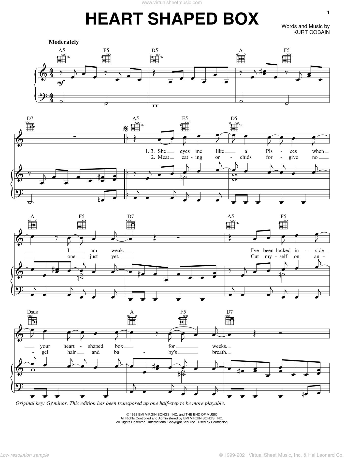 Heart Shaped Box sheet music for voice, piano or guitar by Nirvana and Kurt Cobain, intermediate skill level
