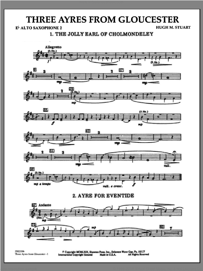 Three Ayres From Gloucester sheet music for concert band (Eb alto saxophone 2) by Hugh M. Stuart
