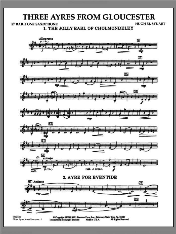 Three Ayres From Gloucester sheet music for concert band (Eb baritone saxophone) by Hugh M. Stuart