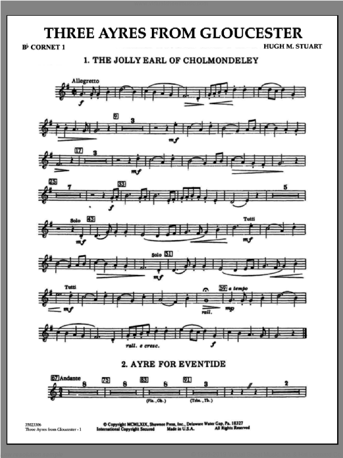 Three Ayres From Gloucester sheet music for concert band (Bb cornet 1) by Hugh M. Stuart