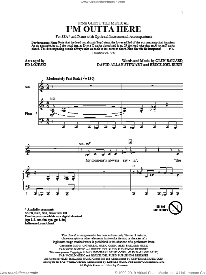I'm Outta Here sheet music for choir (SSA: soprano, alto) by Ed Lojeski, intermediate skill level