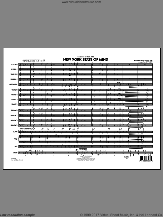 New York State Of Mind (COMPLETE) sheet music for jazz band by John Berry