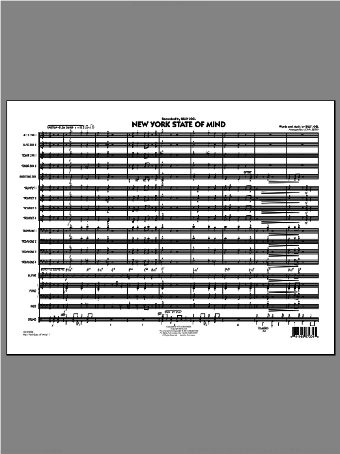New York State Of Mind (COMPLETE) sheet music for jazz band by Billy Joel and John Berry, intermediate. Score Image Preview.