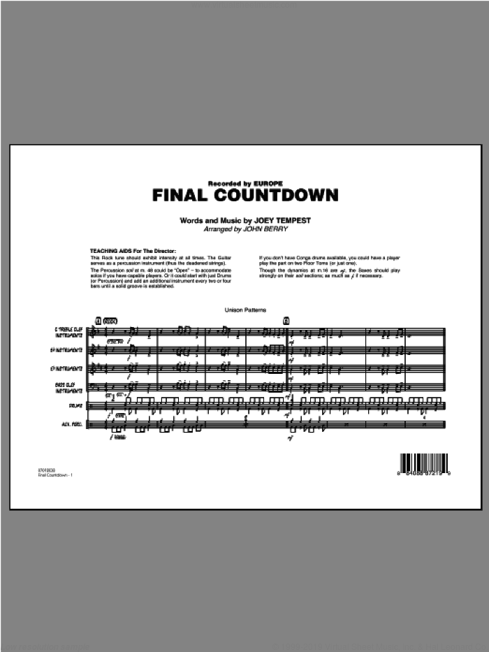 Final Countdown (COMPLETE) sheet music for jazz band by John Berry and Europe, intermediate. Score Image Preview.