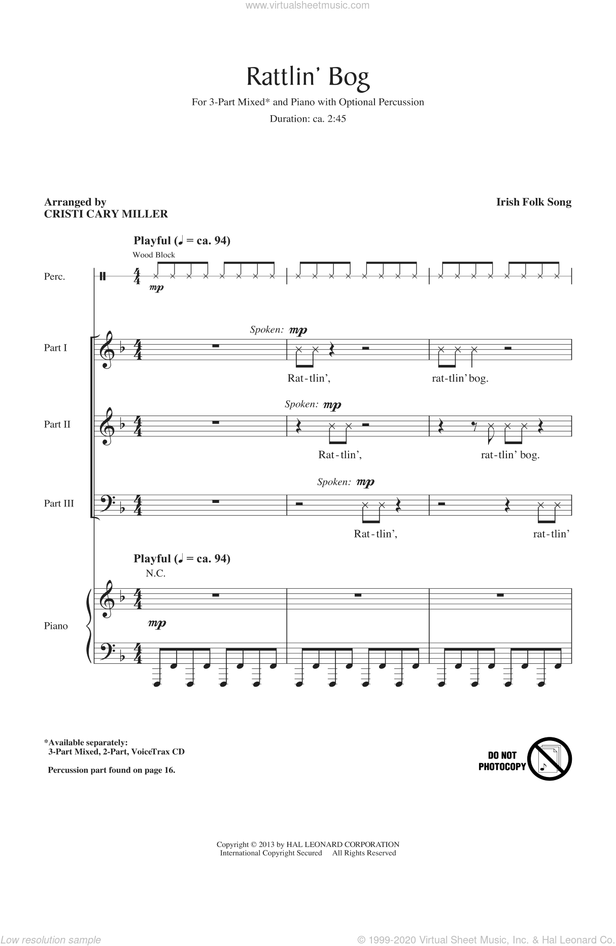 Rattlin' Bog sheet music for choir and piano (chamber ensemble) by Cristi Cary Miller. Score Image Preview.