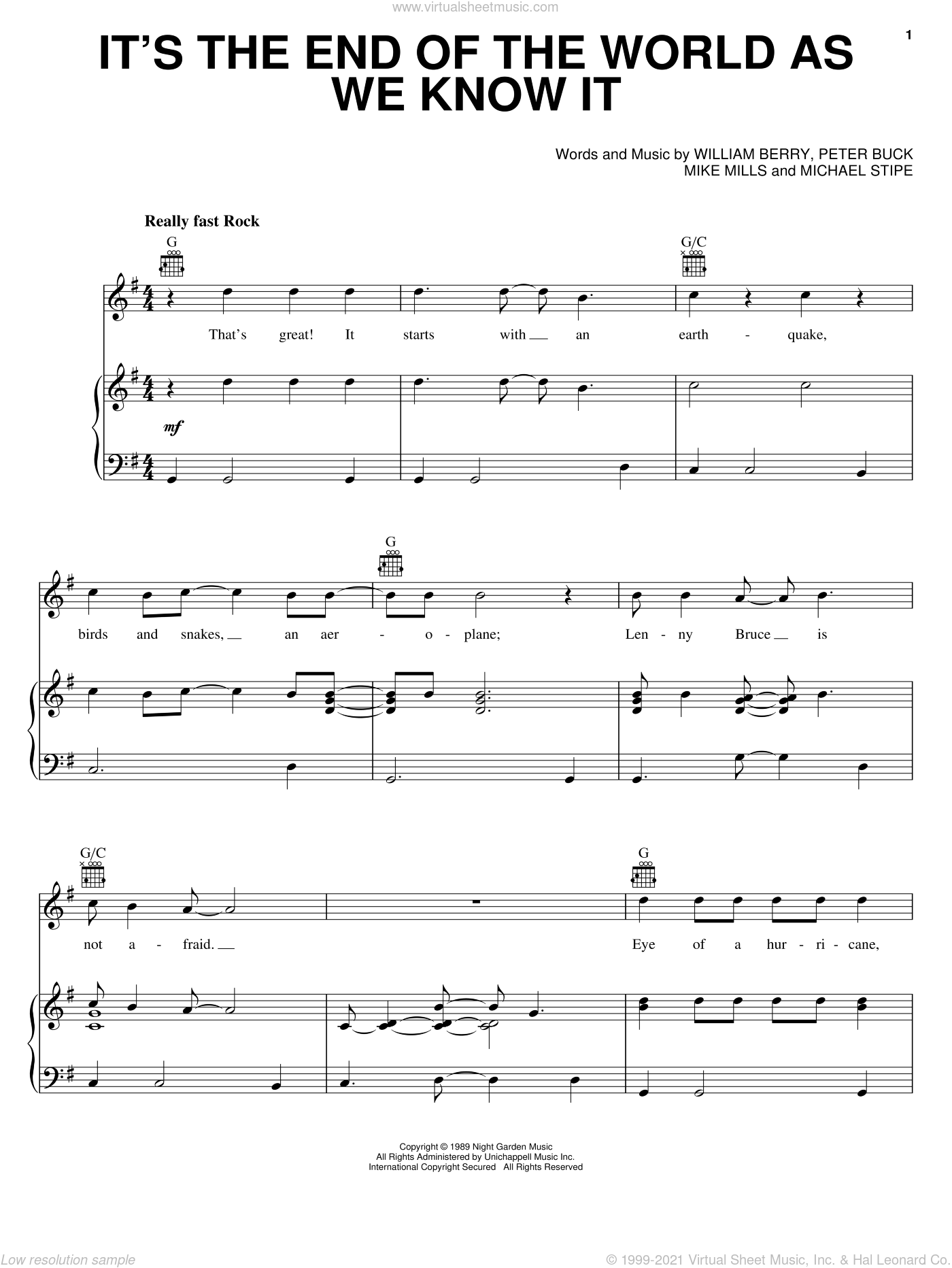 It's The End Of The World As We Know It sheet music for voice, piano or guitar by William Berry