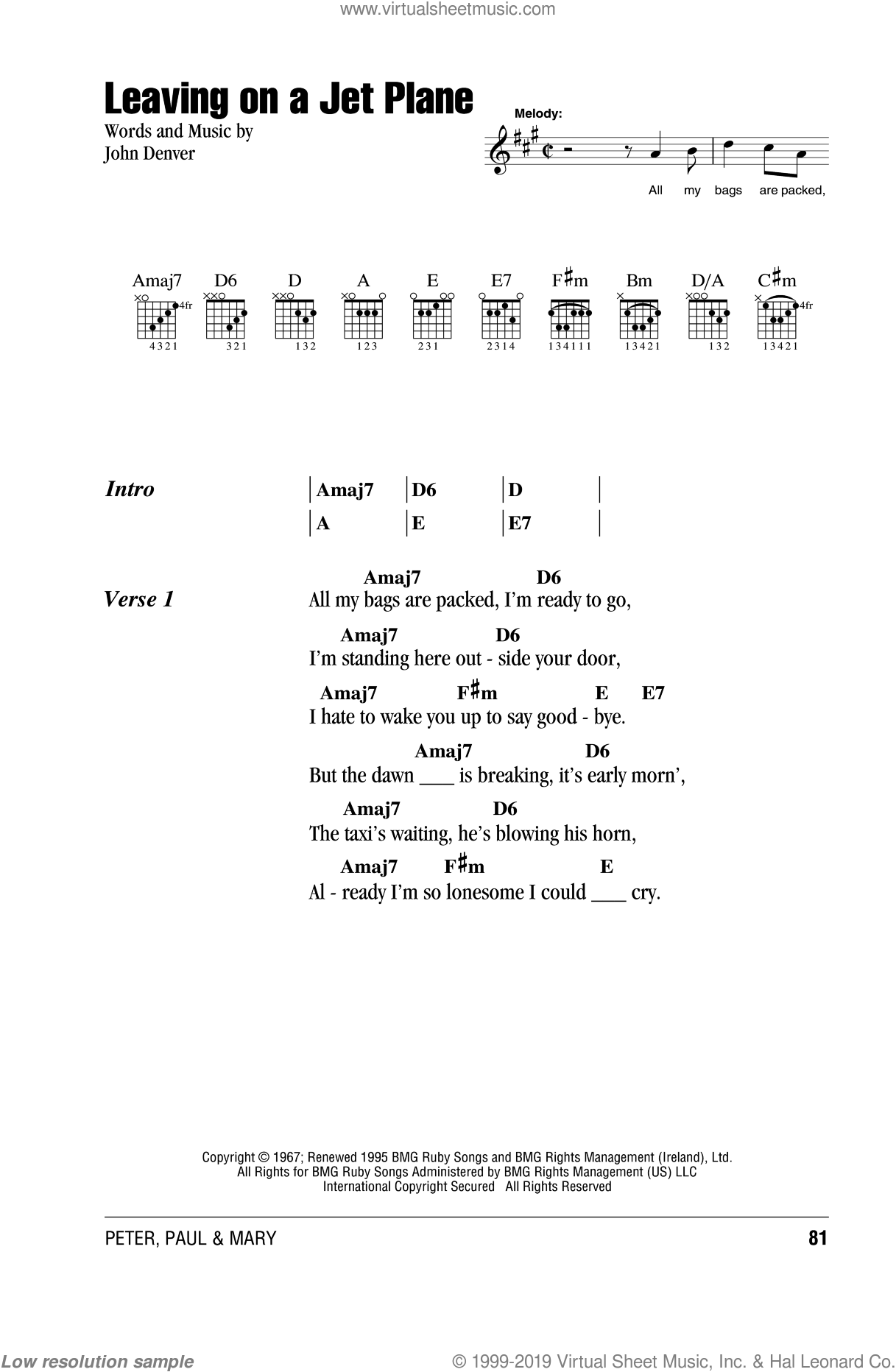 Leaving On A Jet Plane sheet music for guitar (chords) by Peter, Paul & Mary, intermediate skill level