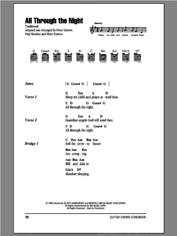 All Through The Night sheet music for guitar (chords) by Peter, Paul & Mary, intermediate skill level