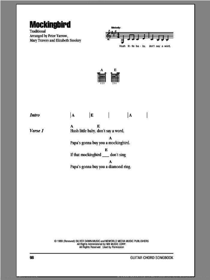 Mockingbird sheet music for guitar (chords) by Peter, Paul & Mary, intermediate skill level