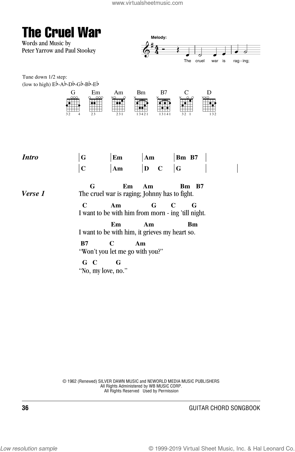 The Cruel War sheet music for guitar (chords) by Peter, Paul & Mary, intermediate skill level