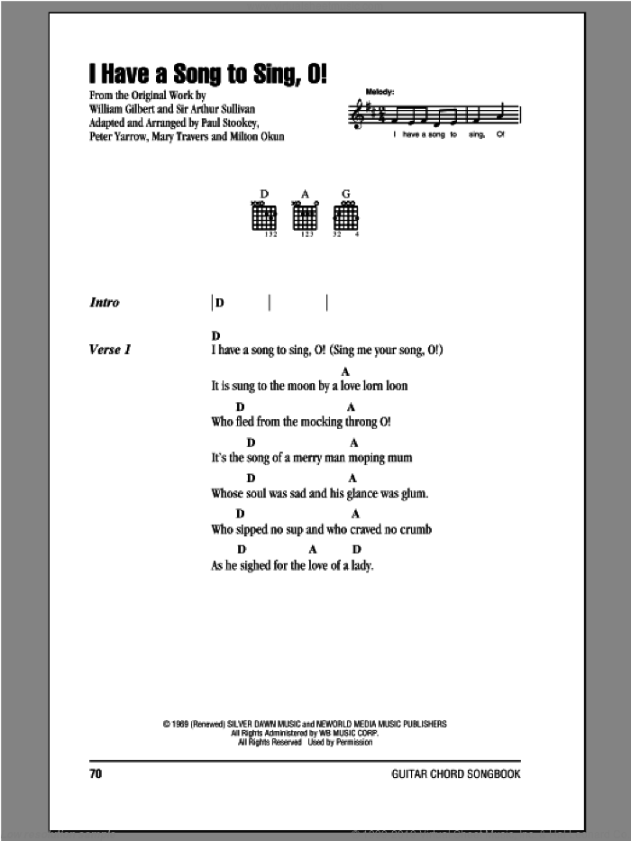I Have A Song To Sing, O! sheet music for guitar (chords) by Peter, Paul & Mary, intermediate skill level