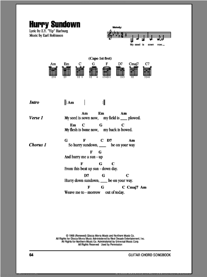 Hurry Sundown sheet music for guitar (chords) by Peter, Paul & Mary. Score Image Preview.