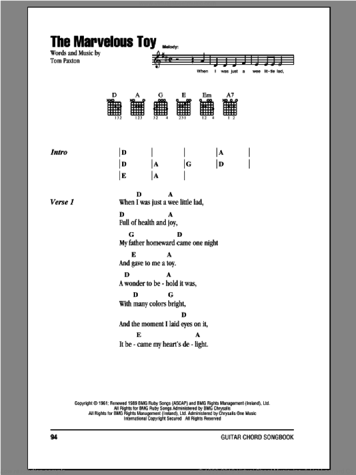Mary - The Marvelous Toy sheet music for guitar (chords) [PDF]