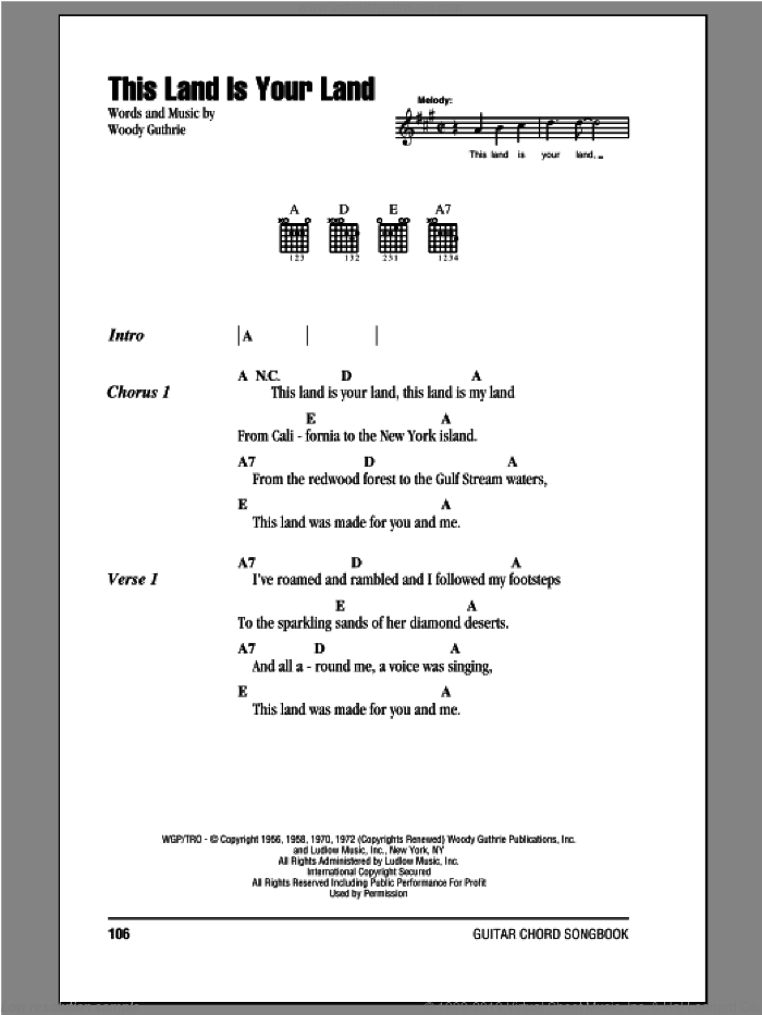 This Land Is Your Land sheet music for guitar (chords) by Peter, Paul & Mary, intermediate skill level