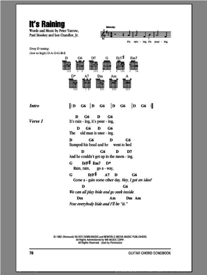 It's Raining sheet music for guitar (chords) by Peter, Paul & Mary, intermediate skill level