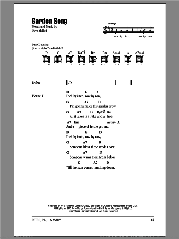 Garden Song sheet music for guitar (chords) by Peter, Paul & Mary, intermediate skill level