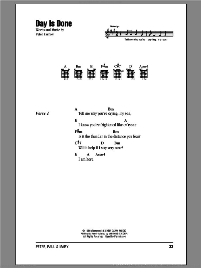 Day Is Done sheet music for guitar (chords) by Peter, Paul & Mary, intermediate skill level