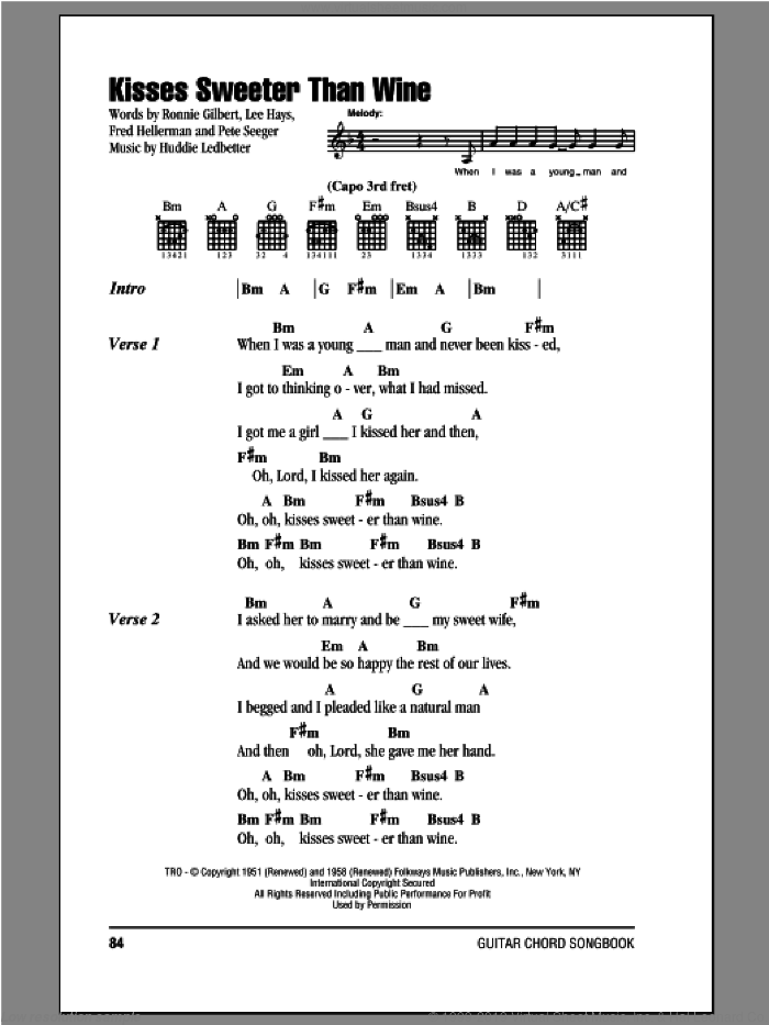 Kisses Sweeter Than Wine sheet music for guitar (chords) by Peter, Paul & Mary, intermediate skill level