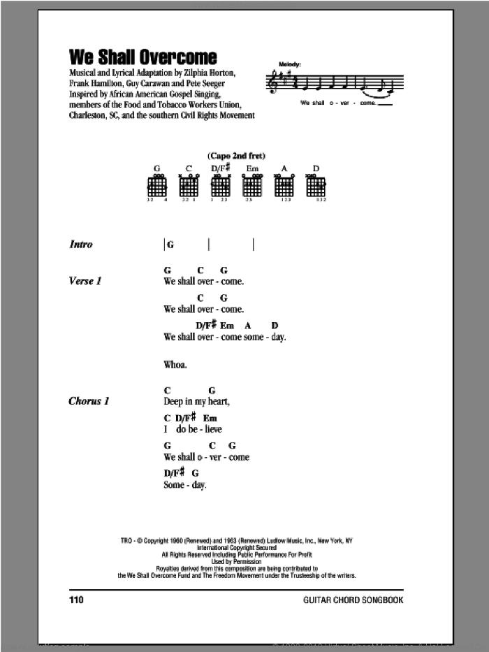 We Shall Overcome sheet music for guitar (chords) by Peter, Paul & Mary. Score Image Preview.