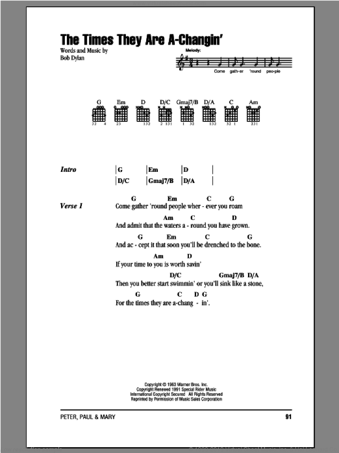 The Times They Are A-Changin' sheet music for guitar (chords) by Peter, Paul & Mary, intermediate skill level