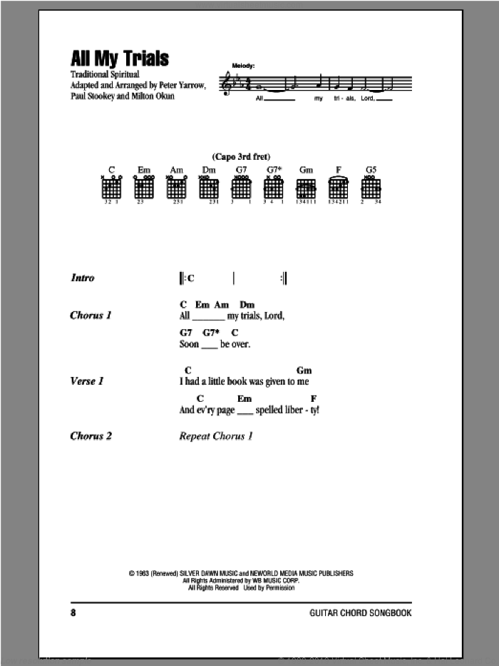 All My Trials sheet music for guitar (chords) by Peter, Paul & Mary, intermediate skill level