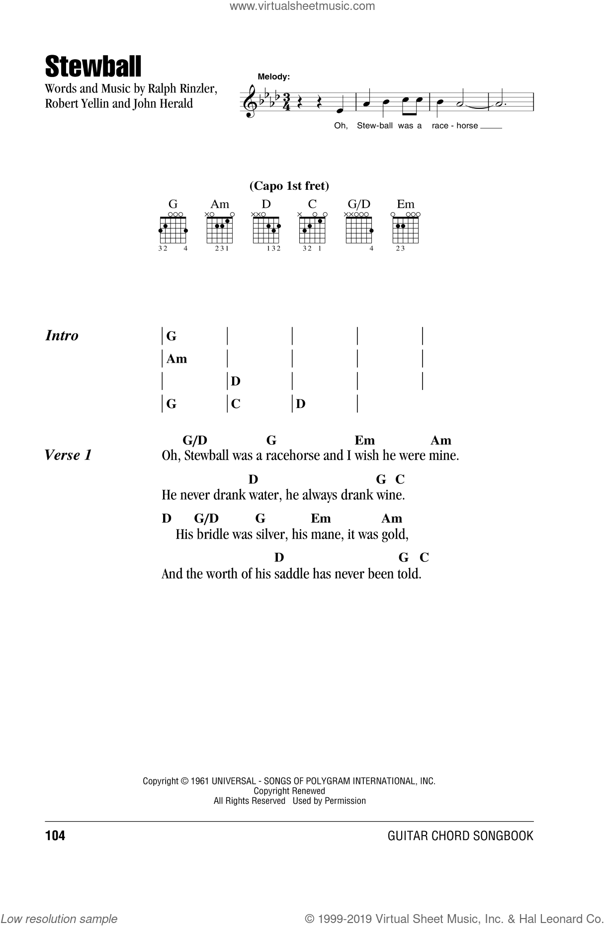 Mary - Stewball sheet music for guitar (chords) [PDF]