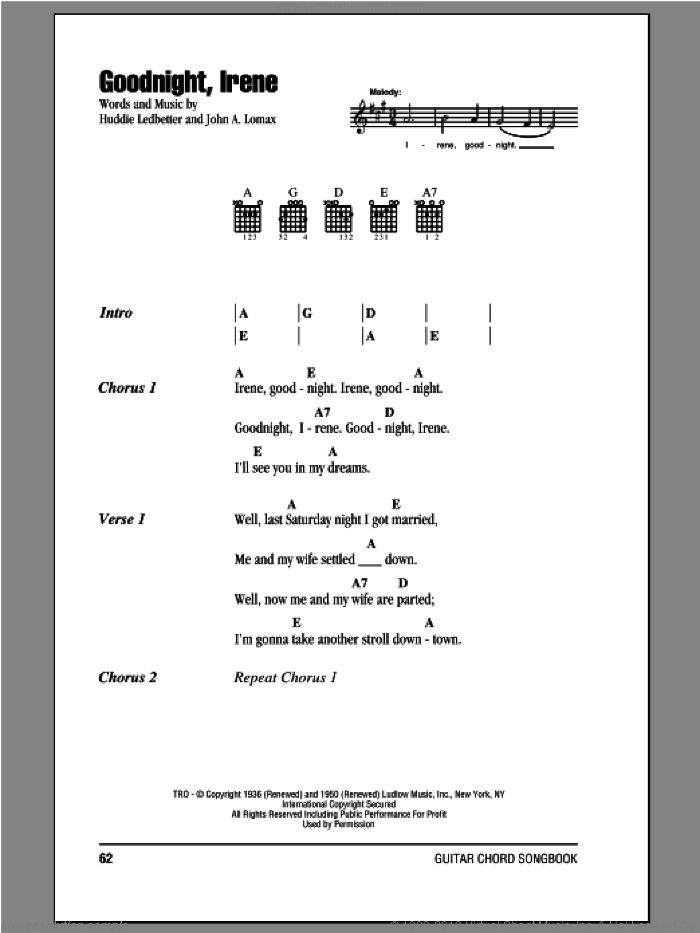 Goodnight, Irene sheet music for guitar (chords) by Peter, Paul & Mary. Score Image Preview.