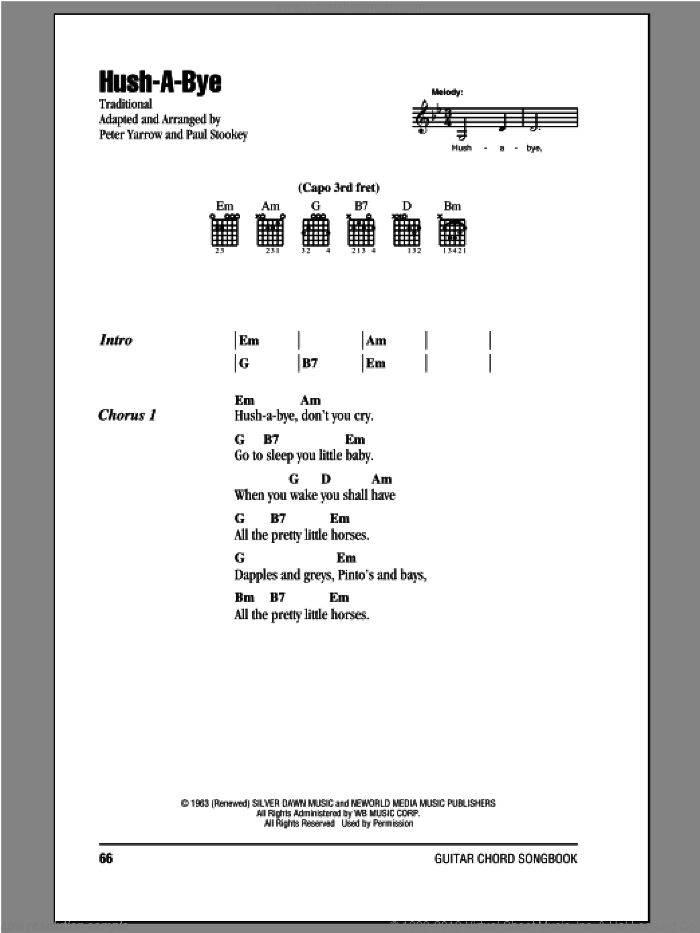 Hush-A-Bye sheet music for guitar (chords) by Peter, Paul & Mary, intermediate skill level