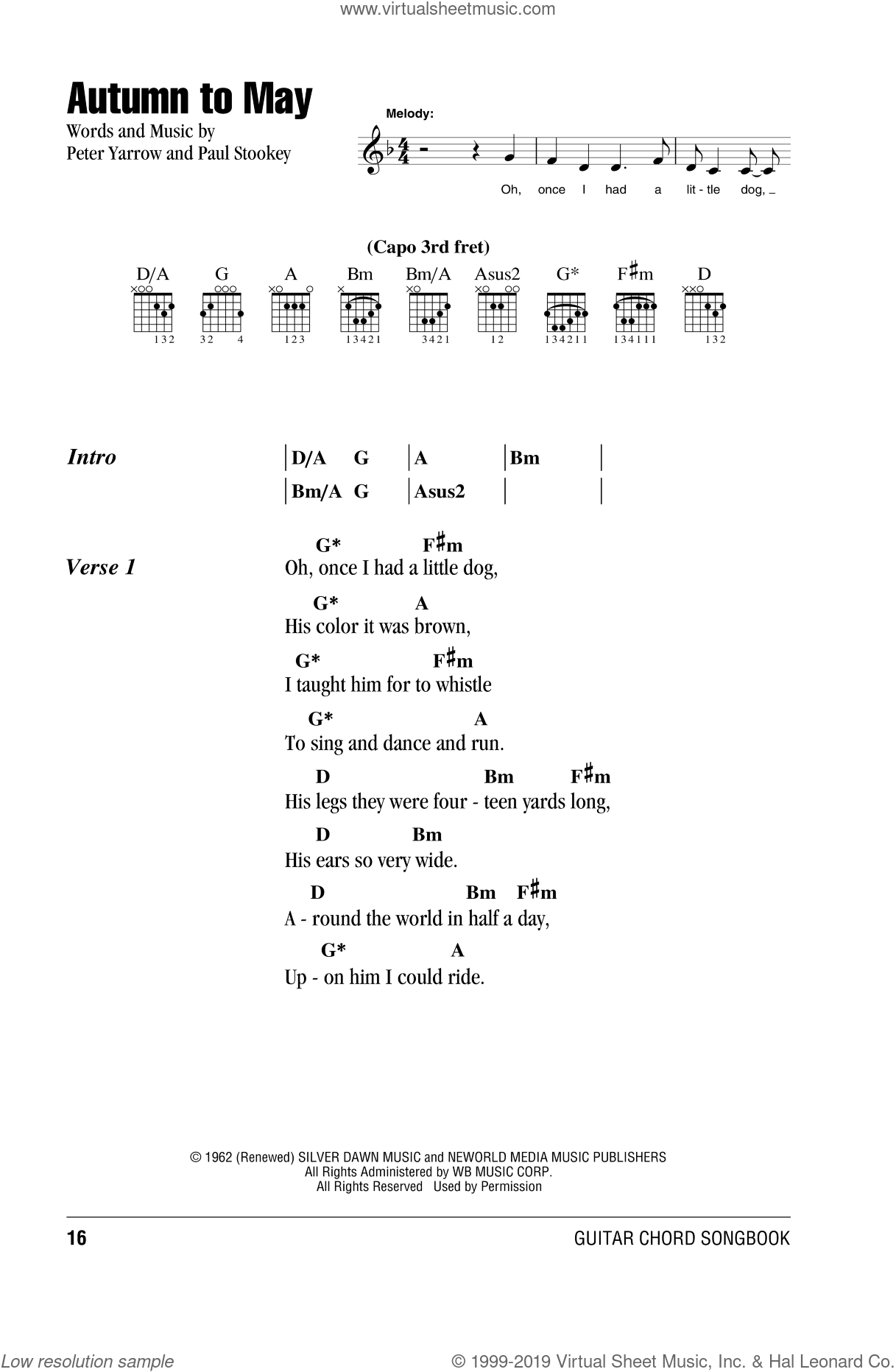 Autumn To May sheet music for guitar (chords) by Peter, Paul & Mary, intermediate skill level