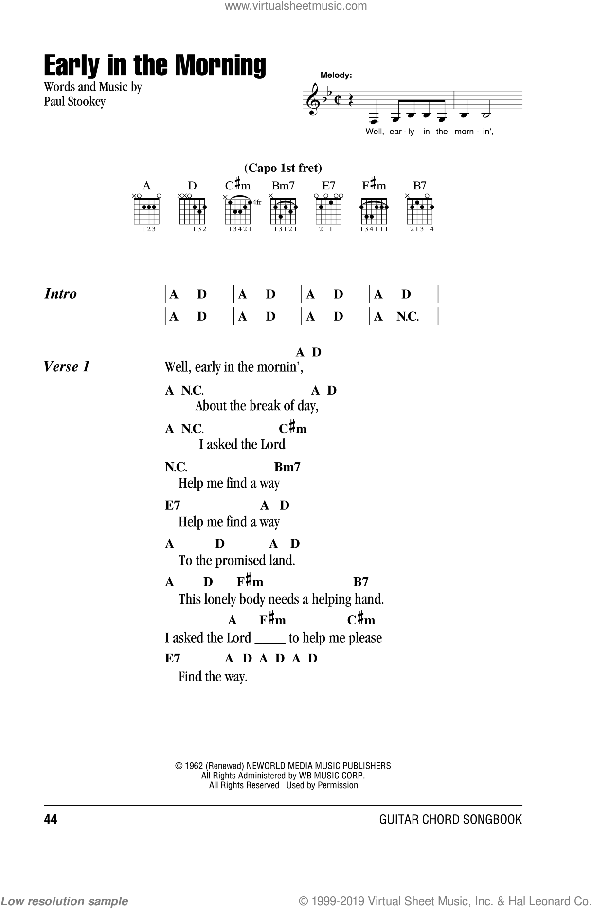 Early In The Morning sheet music for guitar (chords) by Peter, Paul & Mary, intermediate skill level