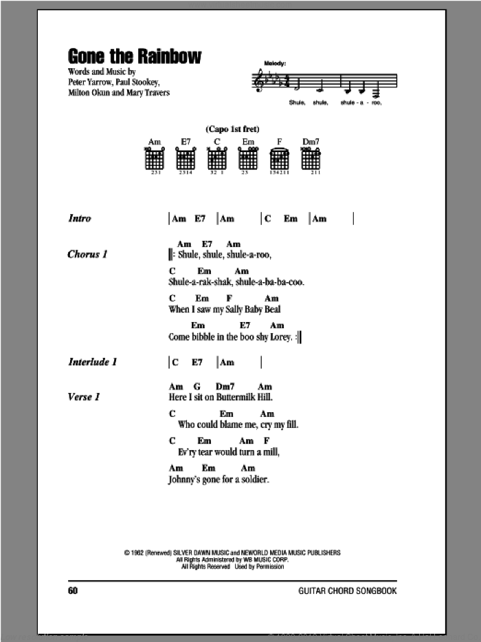 Gone The Rainbow sheet music for guitar (chords) by Peter, Paul & Mary, intermediate skill level