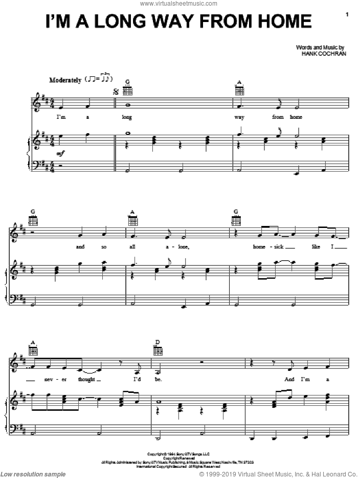 I'm A Long Way From Home sheet music for voice, piano or guitar by Johnny Cash and Hank Cochran. Score Image Preview.