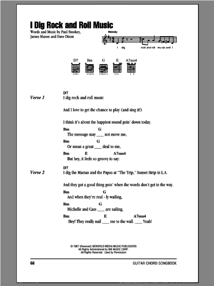 I Dig Rock And Roll Music sheet music for guitar (chords) by Peter, Paul & Mary, intermediate skill level