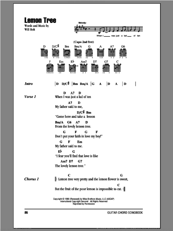 Lemon Tree sheet music for guitar (chords) by Peter, Paul & Mary