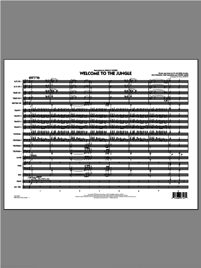 Welcome to the Jungle (COMPLETE) sheet music for jazz band by Paul Murtha, intermediate skill level