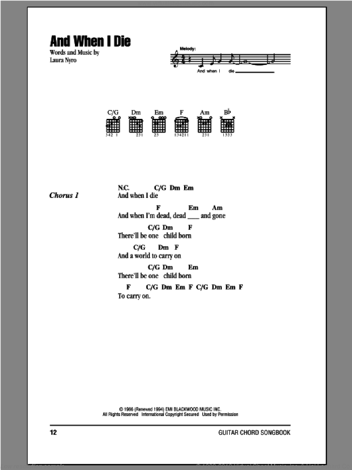 And When I Die sheet music for guitar (chords, lyrics, melody) by Peter, Paul & Mary