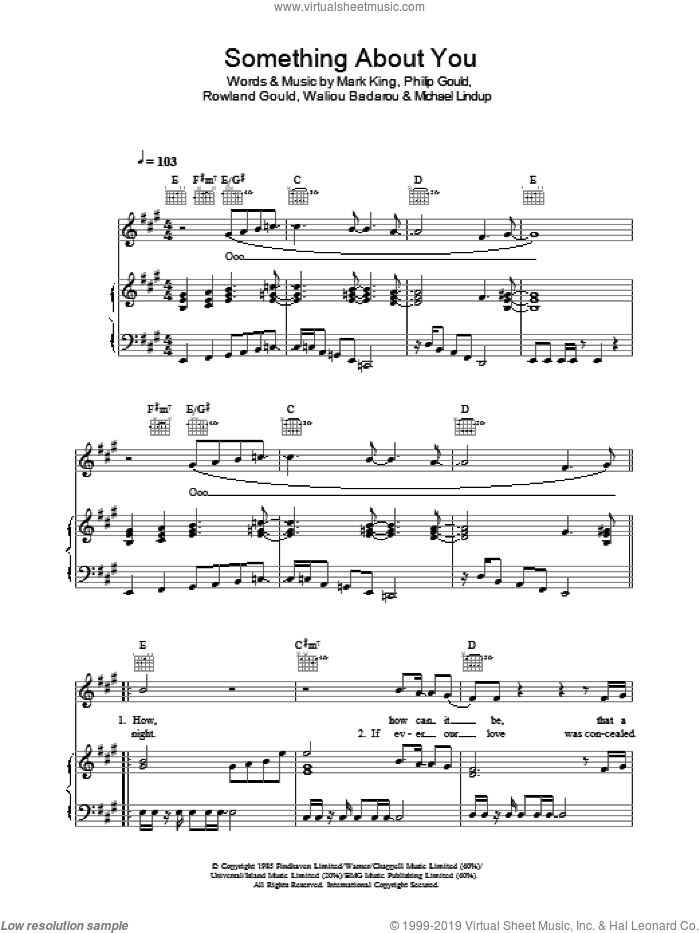 Something About You sheet music for voice, piano or guitar by Level 42, Mark King, Michael Lindup, Philip Gould, Rowland Gould and Waliou Badarou, intermediate
