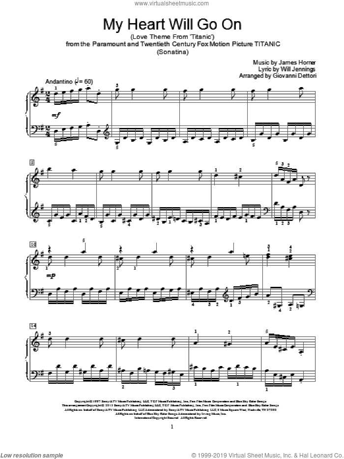 My Heart Will Go On (Love Theme from Titanic) sheet music for piano solo (elementary) by Celine Dion, Giovanni Dettori, James Horner and Will Jennings. Score Image Preview.
