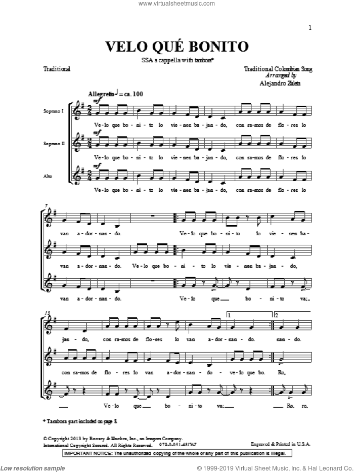 Velo Que Bonito sheet music for choir (SSA: soprano, alto) by Alejandro Zuleta, intermediate skill level