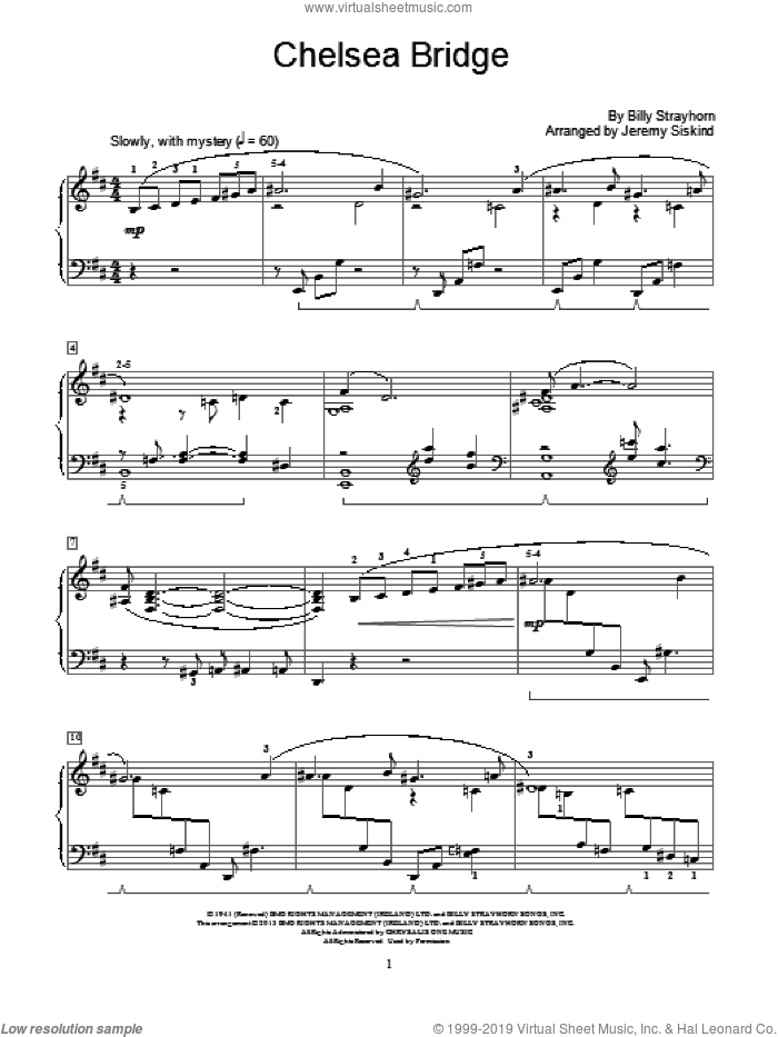Chelsea Bridge sheet music for piano solo (elementary) by Billy Strayhorn and Jeremy Siskind, beginner piano (elementary)
