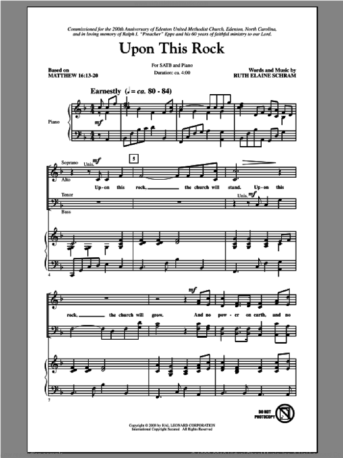 Upon This Rock sheet music for choir (SATB) by Ruth Elaine Schram. Score Image Preview.